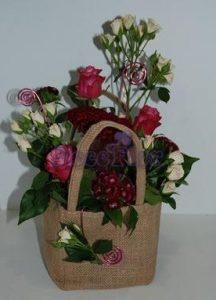 Saco de juta com flores L